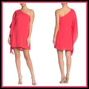 NWT CUPCAKE & CASHMERE One-Shoulder Hibiscus Dress